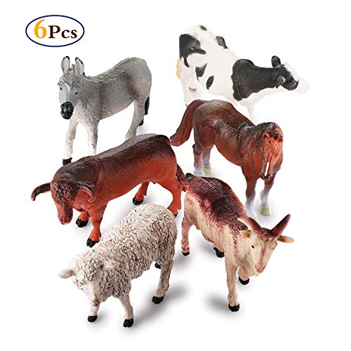 Farm Animals Figure Toys Set,6 Piece Jumbo Farm Animals Toys Set,Realistic Wild Vinyl Pastic Animal Learning Party Favors Toys For Boys Girls Kids Toddlers Big Farm Animals Toys Playset