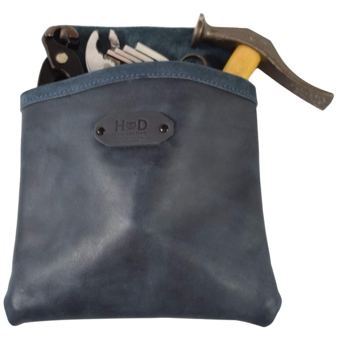 Leather Single Big Pocket Professional Nail/Tool Belt Bag for Constructor/Electrician / Plumber Handmade by Hide & Drink :: Slate Blue