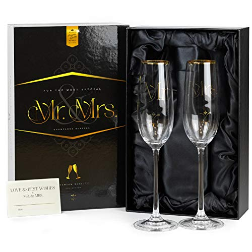 Luxury Crystal Wedding Champagne Glasses for Toasting | Gold Mr. Mrs. Toast Flutes Set for Bride and Groom | Elegant Champaign Gift for His and Hers Engagement Party, Bridal Shower, Couple Anniversary (Champagne High Glasses End)