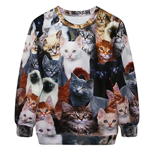 Celewe Women's 3D Cute Cat Print Pullover Sweatshirt Sweater Hoodies, Multi, US M/Asia Tag L