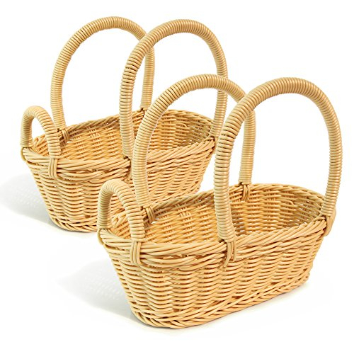 Colorbasket 31324-105 Hand Woven Waterproof Wine Bottle Basket, Natural Color, Set of 2 Wicker Wine Rack