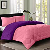 Reversible AC Double Bed Comforter/Blanket/Quilt/Duvet For Winters- Magenta & Purple-By Cloth Fusion