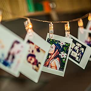 Amazlab T2C LED Photo Clips String Lights, 16 Photo Clips, 4,5 Meter/15 Feet, Warm White, Battery Powered Perfect for Hanging Pictures, Notes, Artwork