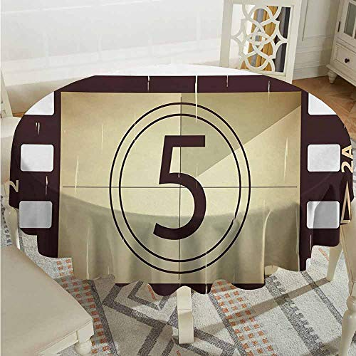XXANS Stain Round Tablecloth,Movie Theater,Scratched Film Strips Vintage Movie Frame Pattern Grunge Illustration,Table Cover for Kitchen Dinning Tabletop Decoratio,43 INCH,Beige Brown White