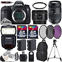 Canon EOS 6D DSLR Camera + 50mm 1.8 STM Lens + 70-300 Di LD Macro Lens + Canon Speedlite 430EX III RT + 64GB Storage + Backup Battery + UV-CPL-FLD Filters + UV Filter - International Version