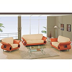 Global Furniture USA Charles Leather Living Room Set in Beige & Orange