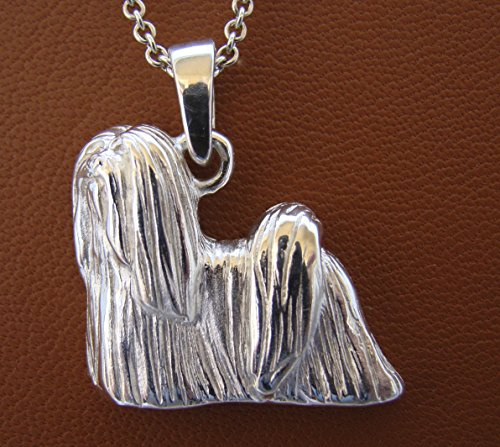 - Large Sterling Silver Lhasa Apso Standing Study Pendant