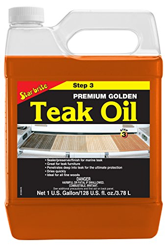 Star brite Premium Golden Teak Oil - Sealer, Preserver, & Finish for Outdoor Teak & Other Fine - Outdoor Finish