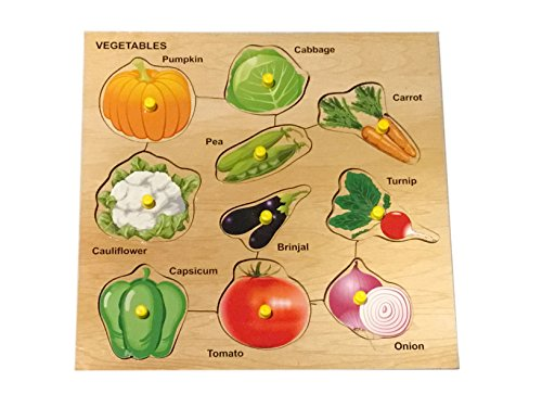 Mojopanda 10 Vegetables Picture with Knobs, Multi Color Kids Peg Puzzle Handcrafted Educational ()