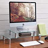 TAVR Multifunction 2 or 1 Tier Variable Assembling Monitor Stand/Riser Desktop Shelf Organizers with Height Adjustable for Home Office Clear Tempered Glass,38mm Strong Aluminum Tube CM2003