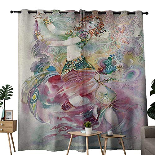 NUOMANAN Curtains for Bedroom Watercolor,Oriental Dance Theme Young Girl Performing in Traditional Costume Fantasy Figure,Multicolor Curtain Panels for Bedroom & Kitchen,1 Pair84 x100 -