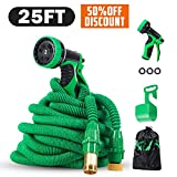 PatioPro 25ft Garden Set All New Water 3/4 Solid Brass Fittings, Flexible Expanding Hose, Bonus A 9-Pattern Sparyer, A Hanger and A Storage Bag, Green