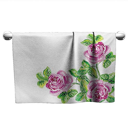 Bensonsve Style Towel Watercolor Flower,Picturesque Glamour Dramatic Rose Figures with Cracked Effect Natural Art,Pink Green,Hooded Poncho Towel for Kids ()