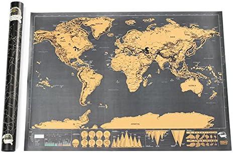 LaDicha Edición Mundial Scratch Mapa De Viaje Huella Creativa Regalo Personalizado Deluxe Negro Grande Mapa: Amazon.es: Juguetes y juegos