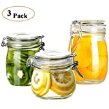 juice canister - Folinstall 3-Piece Glass Storage Canister Jars, Perfect for Storing Coffee, Sugar, Flour, juice or Sweets, Round Terrarium Set with Hinged Lids- 17oz, 24oz And 34oz, Clear