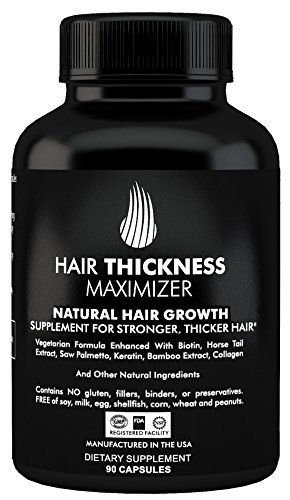 Hair Thickness Maximizer Natural Hair Growth Supplement - For Stronger, Thicker Hair. MADE IN USA. Combat Hair Loss & Thinning Hair. SAFE Vegetarian Formula Enhanced With Biotin, Horsetail Ext & More