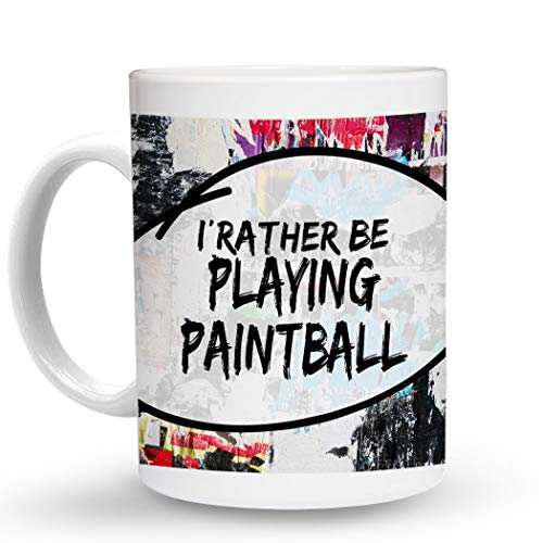 Makoroni - I'D RATHER BE PLAYING PAINTBALL Hobby - 11 Oz. Unique COFFEE MUG, Coffee Cup