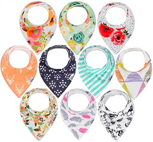 10-Pack Baby Bandana Drool Bibs for Drooling and Teething, 100% Organic Cotton, Soft and Absorbent, Bibs for Baby Girls - Baby Shower Gift Set by Ana Baby