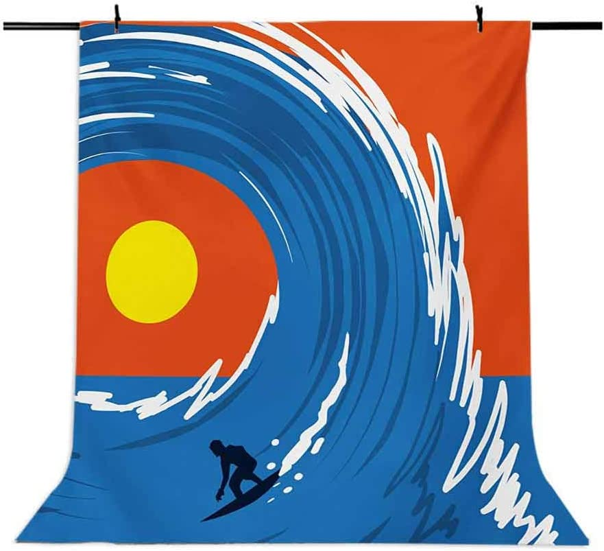 Ride The Wave 8x10 FT Photography Backdrop Man Surfing in Giant Ocean Waves Retro Artistic Sports Poster Print Background for Baby Birthday Party Wedding Vinyl Studio Props Photography