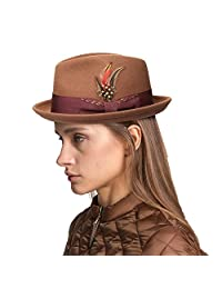 Janetshats Fedora Hat Men Wool Felt Hat Stain-Resistant Crushable Trilby Handmade Stitching Bowknot Feather