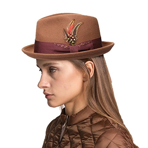 Wool Trilby Hat - Janetshats Unisex Classic Fedora Hats Wool Felt Trilby Hat with Bowknot Feather Camel
