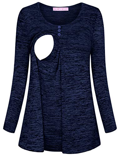 JOYMOM Breastfeeding Sweater,Fitted Maternity Tops Long Sleeve O Neck T-Shirt for Pregnant Women Solid Color Ruffled Trapeze Nursing Clothes Postpartum Business Wear Blue Medium by JOYMOM