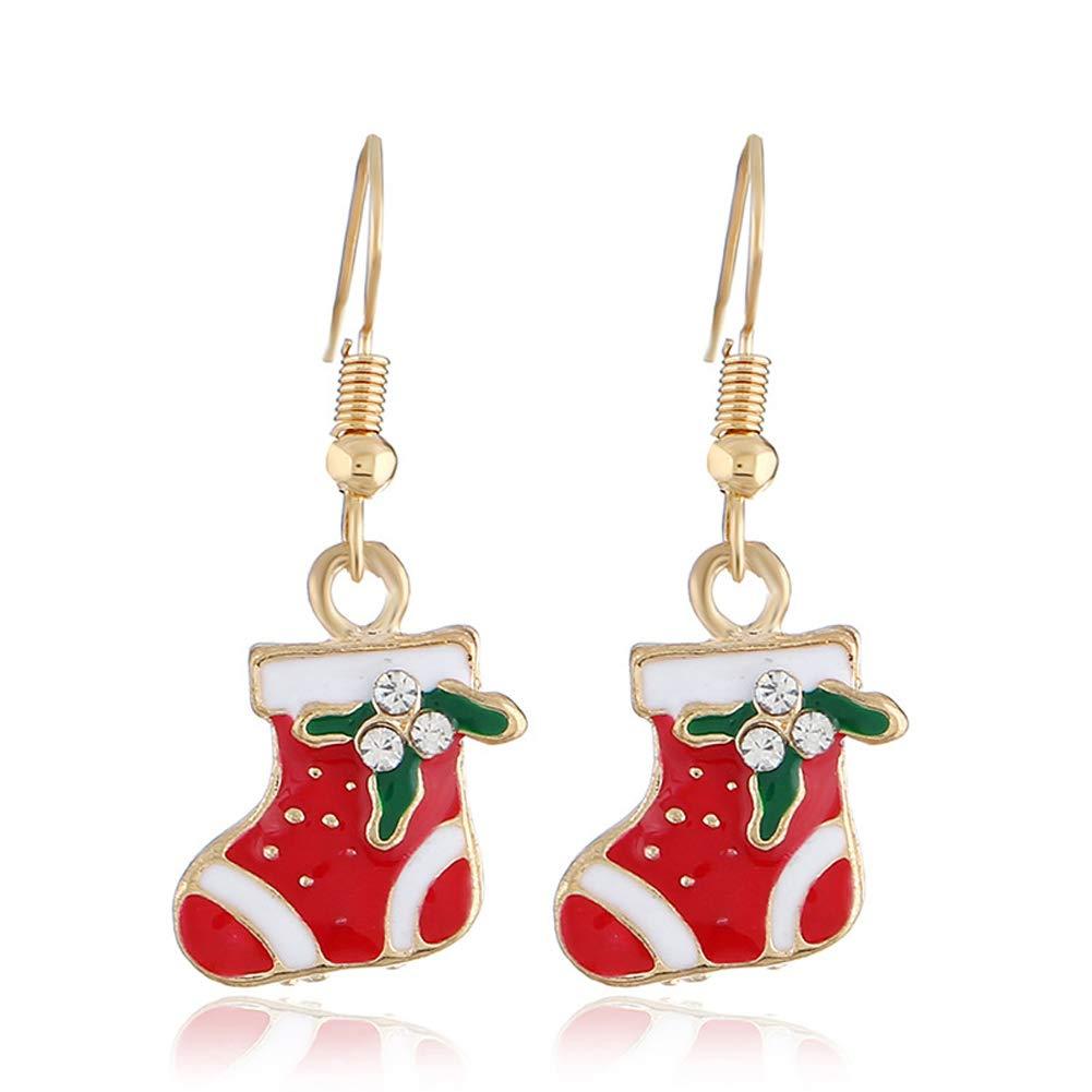 Christmas Creative Snowman Crutches Long Oil Earrings Simple and Fresh Christmas Socks Earrings Three Pieces Set