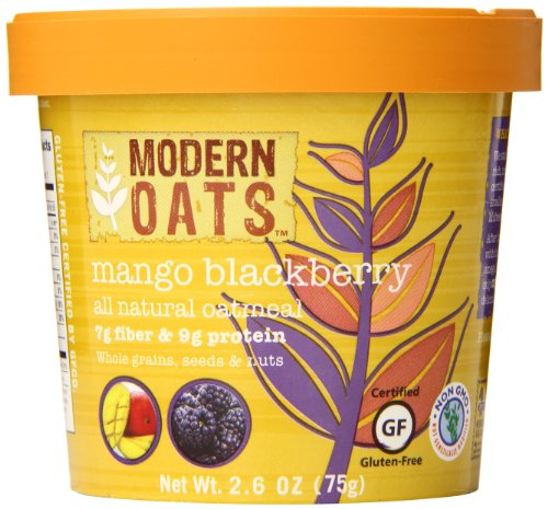 Modern Oats All Natural Oatmeal Cups Mango Blackberry 2.6 Ounce (Pack of 12) Gluten Free Non-GMO Whole Grain Vegan and Kosher No Known Allergens 7g Fiber & 9g Protein Per Cup