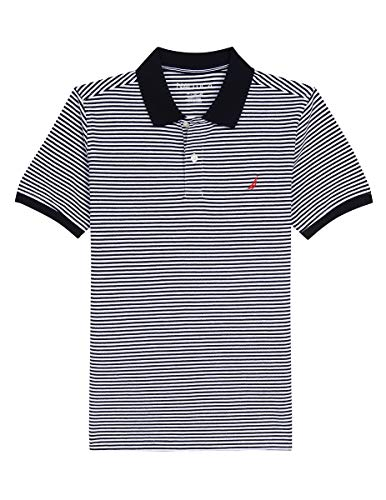 - Nautica Boys' Short Sleeve Striped Deck Polo Shirt, Cobbler Sport Navy, Medium (10/12)