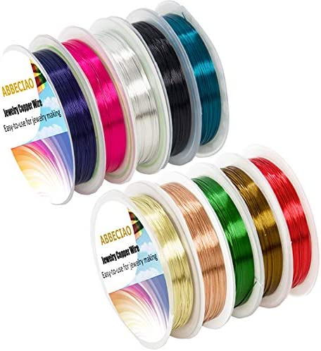 ABBECIAO 10 Pack Jewelry Beading Wire Copper Wire for Jewelry Making Supplies and Craft (10 Colors, 26 Gauge)
