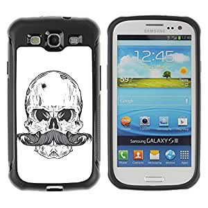 Hybrid Anti-Shock Defend Case for Samsung Galaxy S3 / Cool Skull & Moustache