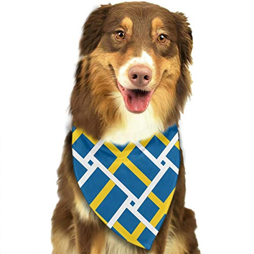 JWKSY Dog Bandana Scarf Sweden Flag Weave Triangle Bibs Printing Kerchief Set Accessories Dogs Cats Pets