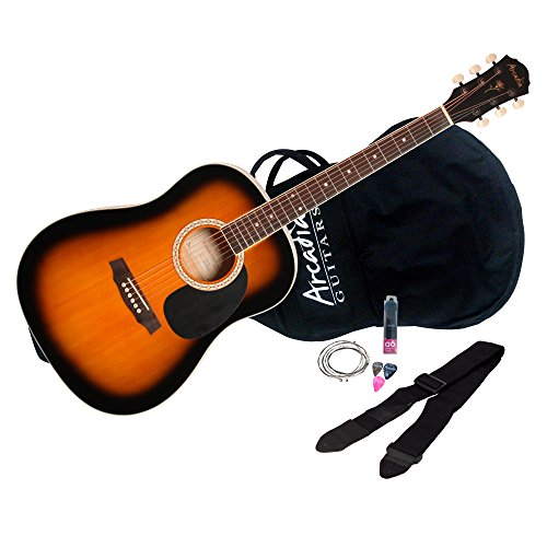 Arcadia DL38TS 38″ 3/4 Dreadnaught Acoustic Guitar Pack, Spruce Tobacco Sunburst Finish