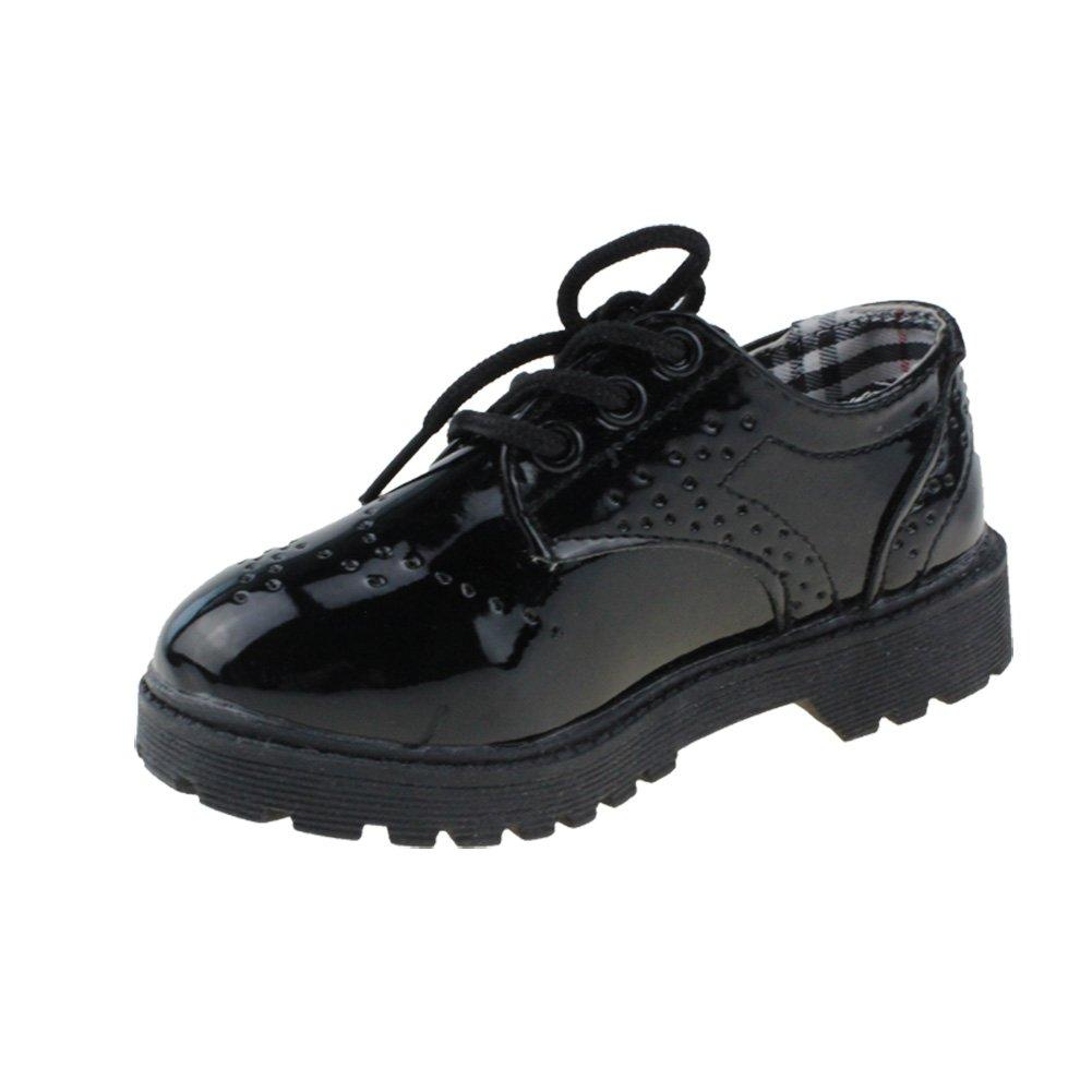 Maxu Children's Oxford Dress Shoes Lace Up,Black,Big Kid Size 4