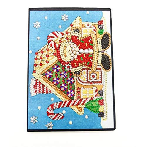 Fine DIY Diamond Painting Notebook,Round Diamonds and Special Shapes Christmas Diamond Painting Notebook Creative DIY Diary Gift (E)