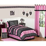 Pink and Black Madison Girls Kids & Teen Bedding 4pc Twin Set