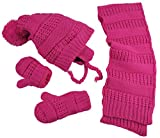 N'Ice Caps Little Girls and Infants Solid Cable Knit Hat/Scarf/Mitten Accessory Set (2-3 Years, Fuchsia)