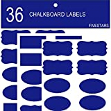 Blue Chalkboard Labels Vibrant Color Kitchen Organization of Bins/Boxes/Spice Jars/Containers Erasable Reusable Black Board Vinly Label Waterproof Adhesive Stickers Decal Craft Gift, 36 Piece