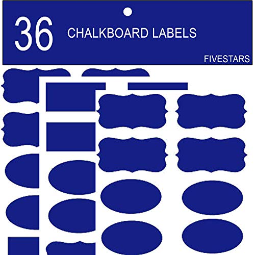 Blue Chalkboard Labels Vibrant Color Kitchen Organization of Bins/Boxes/Spice Jars/Containers Erasable Reusable Black Board Vinly Label Waterproof Adhesive Stickers Decal Craft Gift, 36 Piece by FIVESTARS