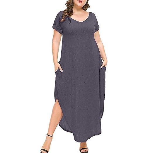 Amazon.com: Side Split Maxi Dresses, Women Plus Size Dress ...