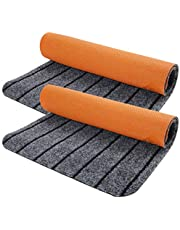"""Door Mat Outdoor Indoor with Non-Slip Rubber Backing, 2-Pack 17"""" X 30"""" Doormat for Entrance Way Outside Inside, Entryway Rug, Home Floor Mat, Easy Clean, Machine Washable, Low Profile, Super Absorbent"""