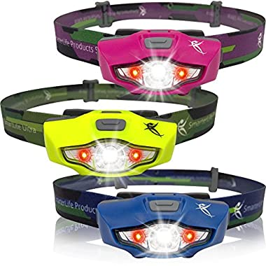 **FLASH SALE** LED Headlamp with White & Red Lights - 100 lumens, 1 AA Battery, Only 1.5 oz. - Top Rated Running Headlamp - 4 White, 2 Red & SOS Light Modes - Best Headlamps for Running, Cycling, Camping, Reading, Crafts and Home Projects - Waterproof, Lifetime Warranty - By SmarterLife Products® (Hot Pink)