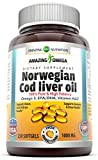 Cheap Amazing Omega Norwegian Cod Liver Oil 1000 Mg, Softgels (Orange, 250 Softgels)