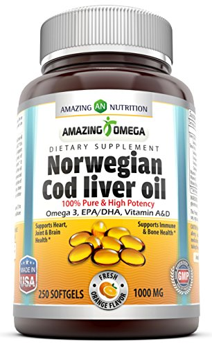 Amazing Omega Norwegian Cod Liver Oil 1000 Mg, Softgels (Orange, 250 Softgels)