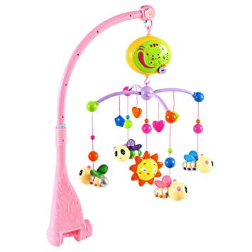 Baby Musical Mobile Crib Decoration Bed Toy Holder Kid Music Box Nursery Pink