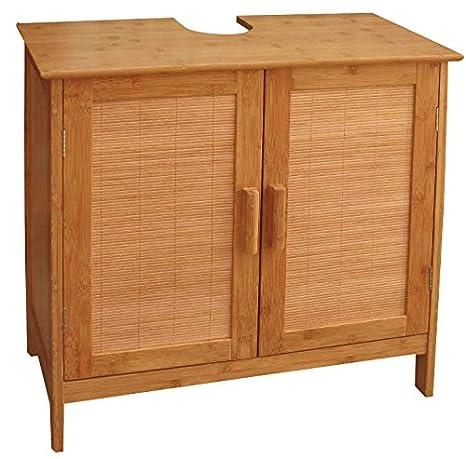 Mendler Bambus-Waschbecken-Unterschrank, Badezimmerschrank, zweitürig,  62x60x30cm