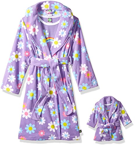 Dollie & Me Girls' Big Printed Robe Set with Matching 18 Inch Doll Outfit, Purple Floral, S -