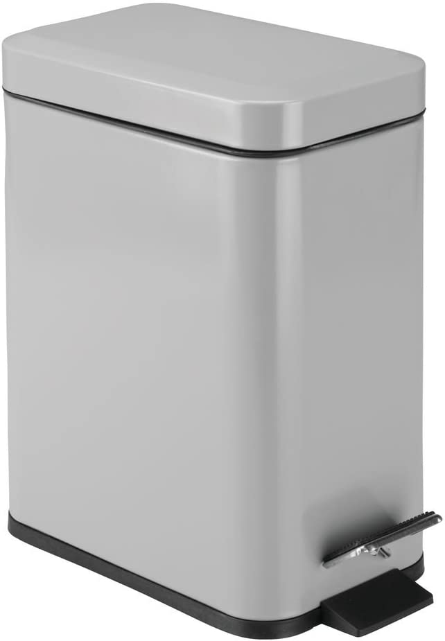 mDesign 1.3 Gallon Rectangular Small Steel Step Trash Can Wastebasket, Garbage Container Bin for Bathroom, Powder Room, Bedroom, Kitchen, Craft Room, Office - Removable Liner Bucket - Gray