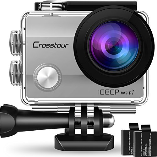 "Crosstour Action Camera Underwater Cam WiFi 1080P Full HD 12MP Waterproof 30m 2"" LCD 170°Wide-angle Sports Camera with 2 Rechargeable 1050mAh Batteries and Mounting Accessory Kits(Silver) Crosstour"