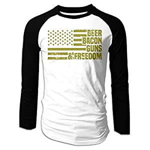 Men's Shirt,Long Sleeve Beer Bacon Guns & Freedom Tee For Man